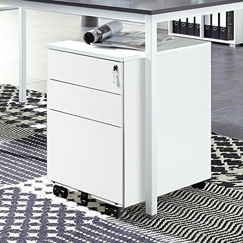 Desk Cabinet: Filing Pedestal Cabinet Office 3 Drawers Chest Lockable 3