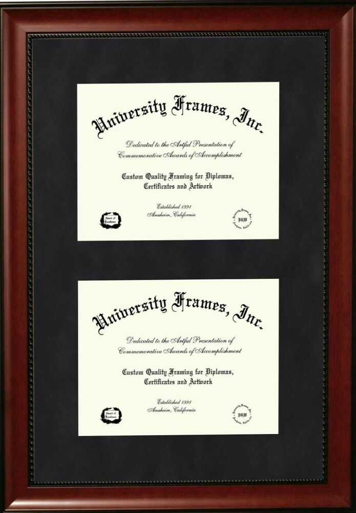 Two 11x14 openings diploma frame, studio cherry with bead frame, top ...