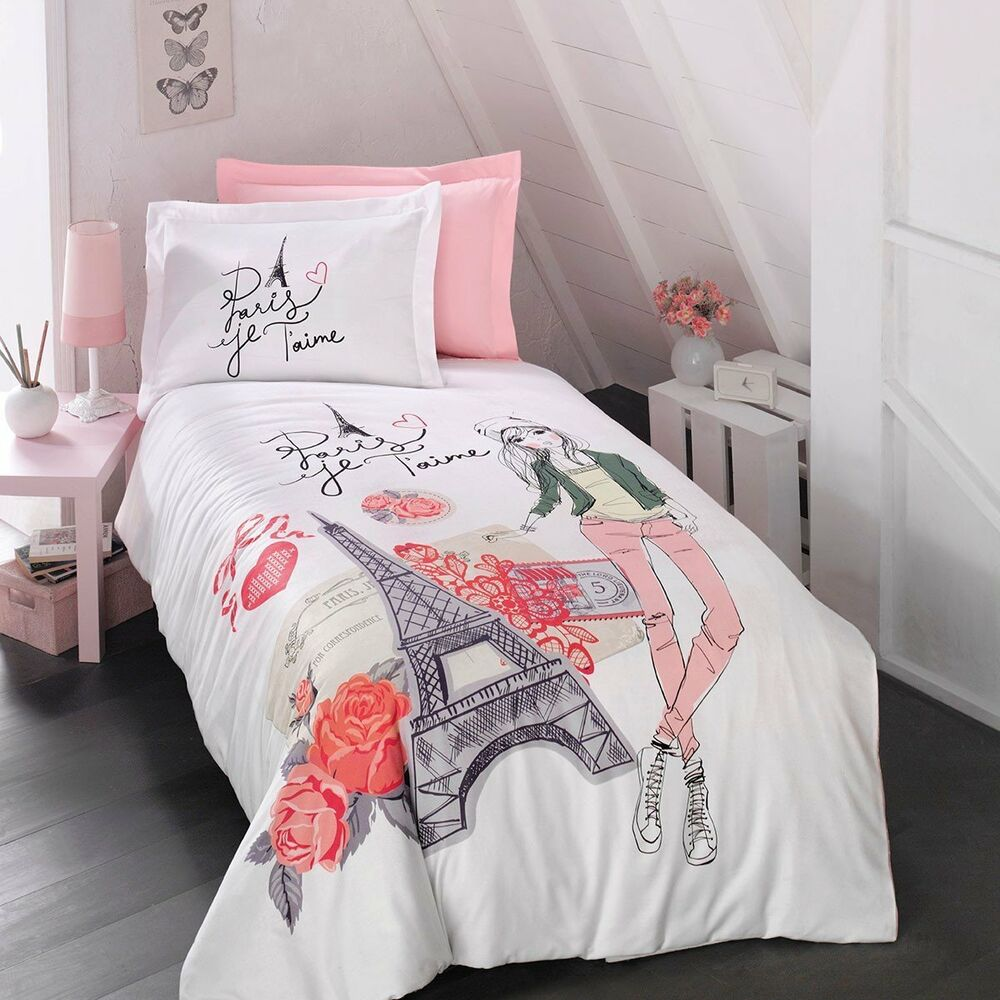 paris bedding girls duvet cover set eiffel tower themed single twin size 3 pcs ebay. Black Bedroom Furniture Sets. Home Design Ideas