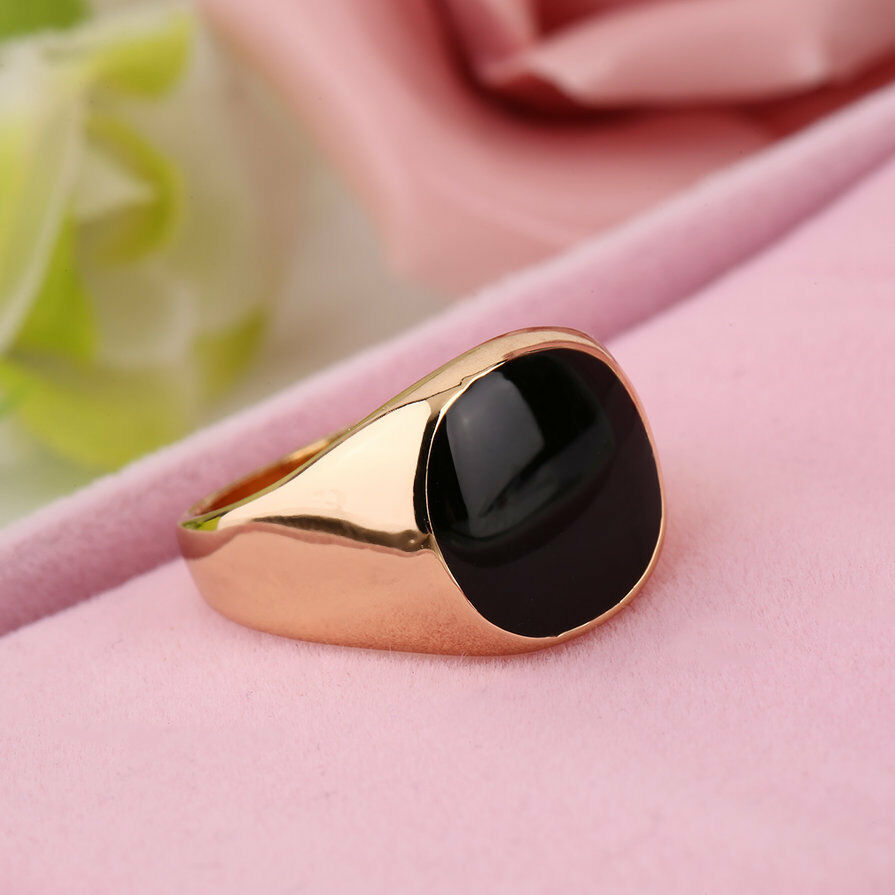 Fashion Steel Metal Ring 18K Gold Plated Black Onyx Stone Engagement ...