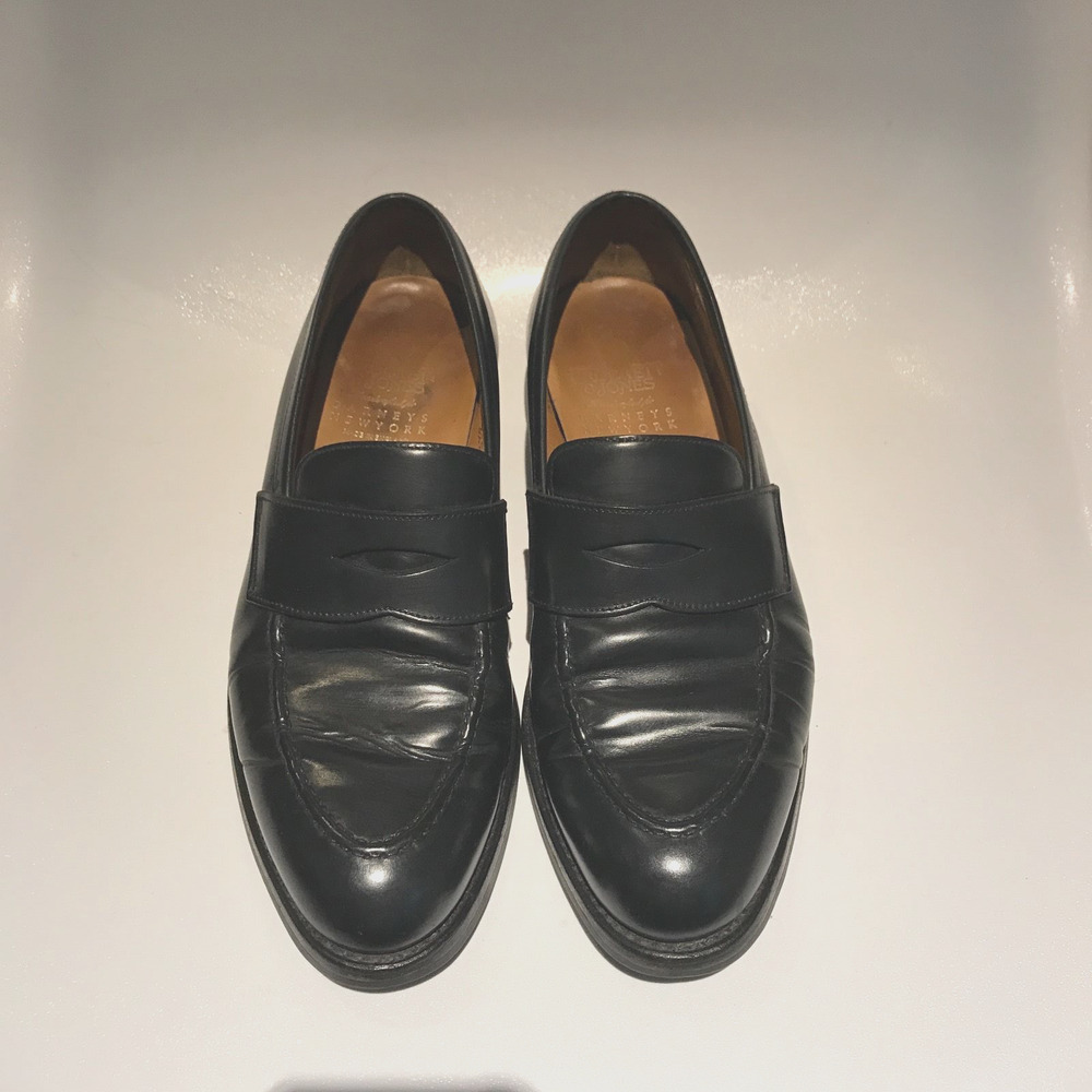 0d45da461d6 Details about Mens Crockett   Jones for Barneys NewYork Shell Cordovan  Black Penny Loafer 8D