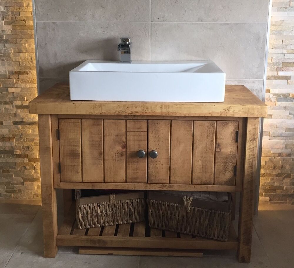 New Rustic Chunky Solid Wood Bathroom Sink Vanity Unit