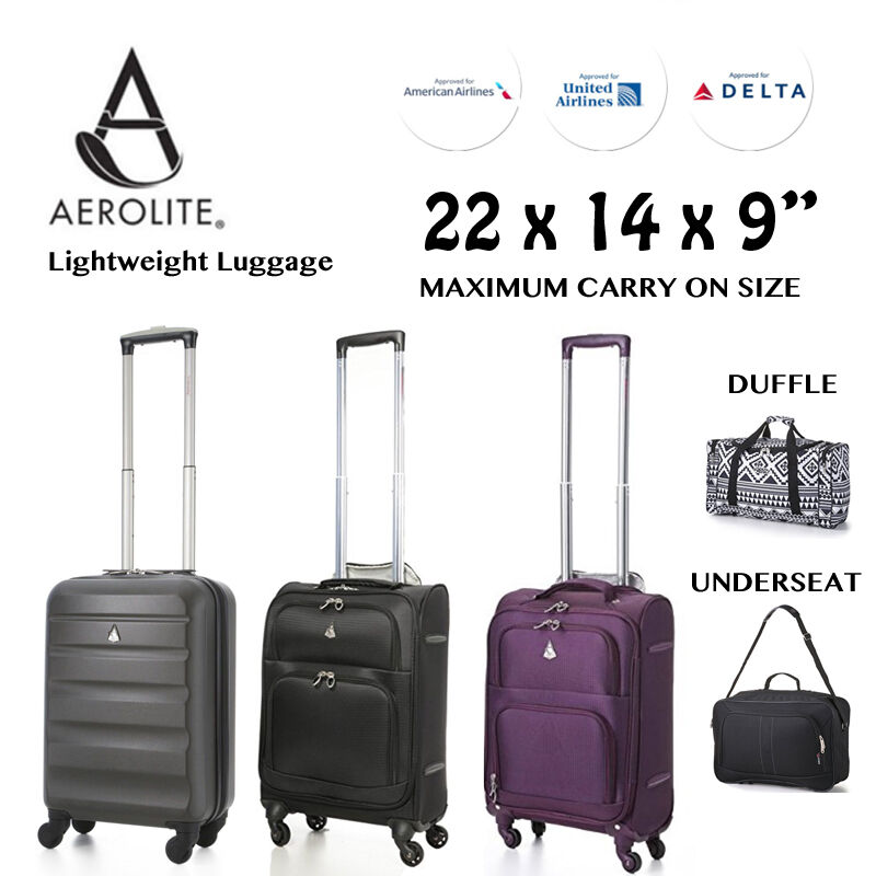 22x14x9 American United Delta Airline Maximum Carry On Luggage Travel Suitcases Ebay
