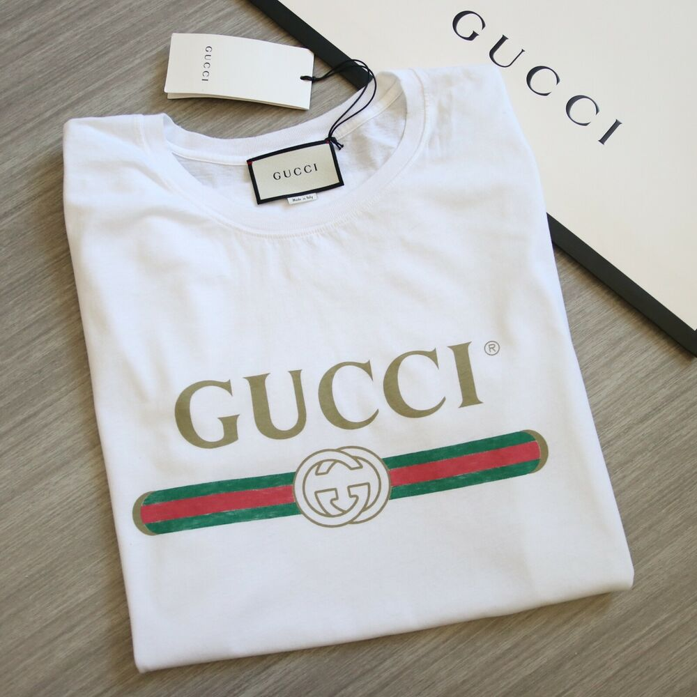 authentic bnwt gucci vintage 1980 tee t shirt logo print. Black Bedroom Furniture Sets. Home Design Ideas