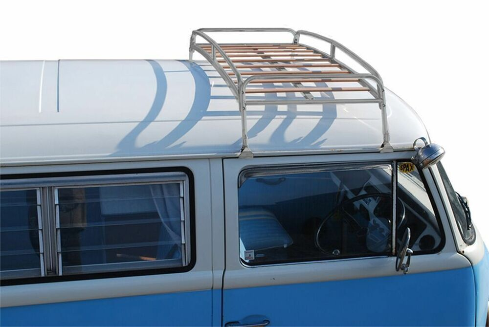 bf77096100 Details about Silver Powder Coated Steel Roof Rack Hardwood Slats VW T2  Splits   Bay C9068P