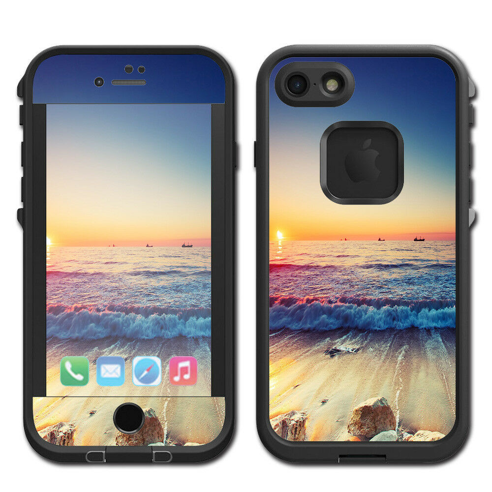 Details about skins decals for lifeproof fre iphone 7 case beach tide water rocks sunset