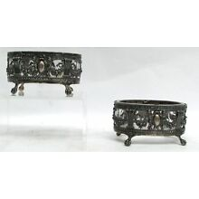 OUTSTANDING PAIR (2) FRENCH STERLING SILVER & CRYSTAL RETICULATED MASTER SALTS