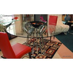 Olivia dining table with 59'' round clear glass top and polished stainless steel