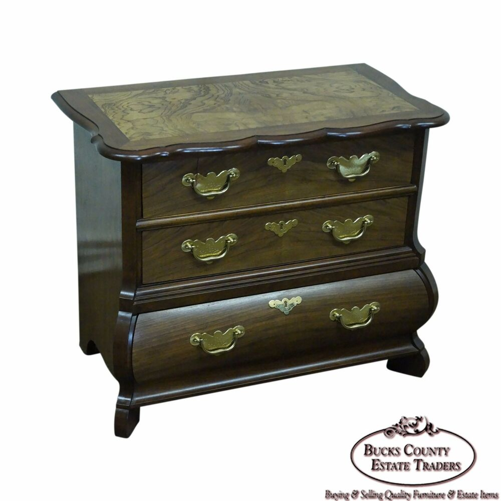 Details about baker furniture small burl wood walnut bombe chest