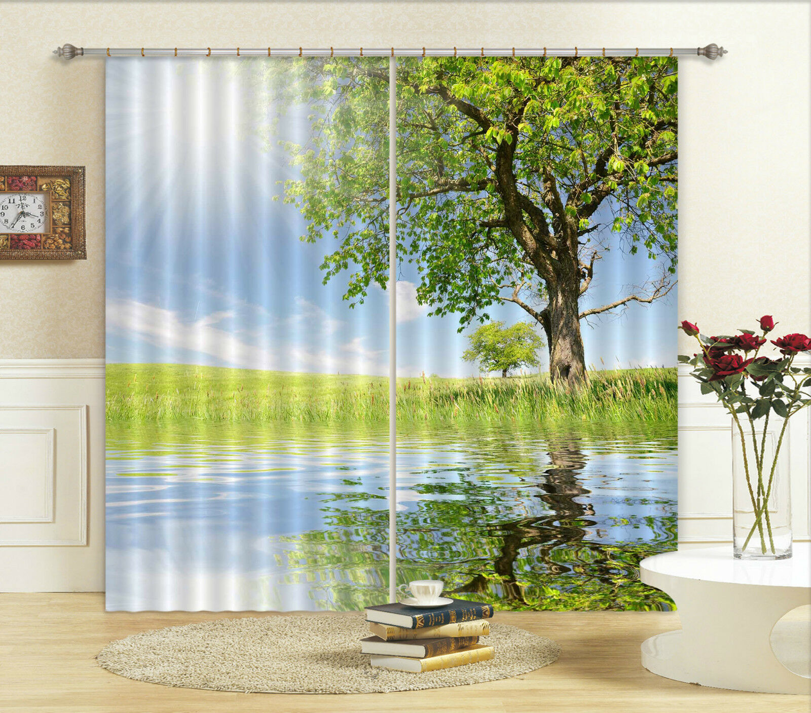 Gentle 3d Blumen Hirsch 89 Duschvorhang Wasserdicht Faser Bad Daheim Windows Toilette Curtains, Drapes & Valances