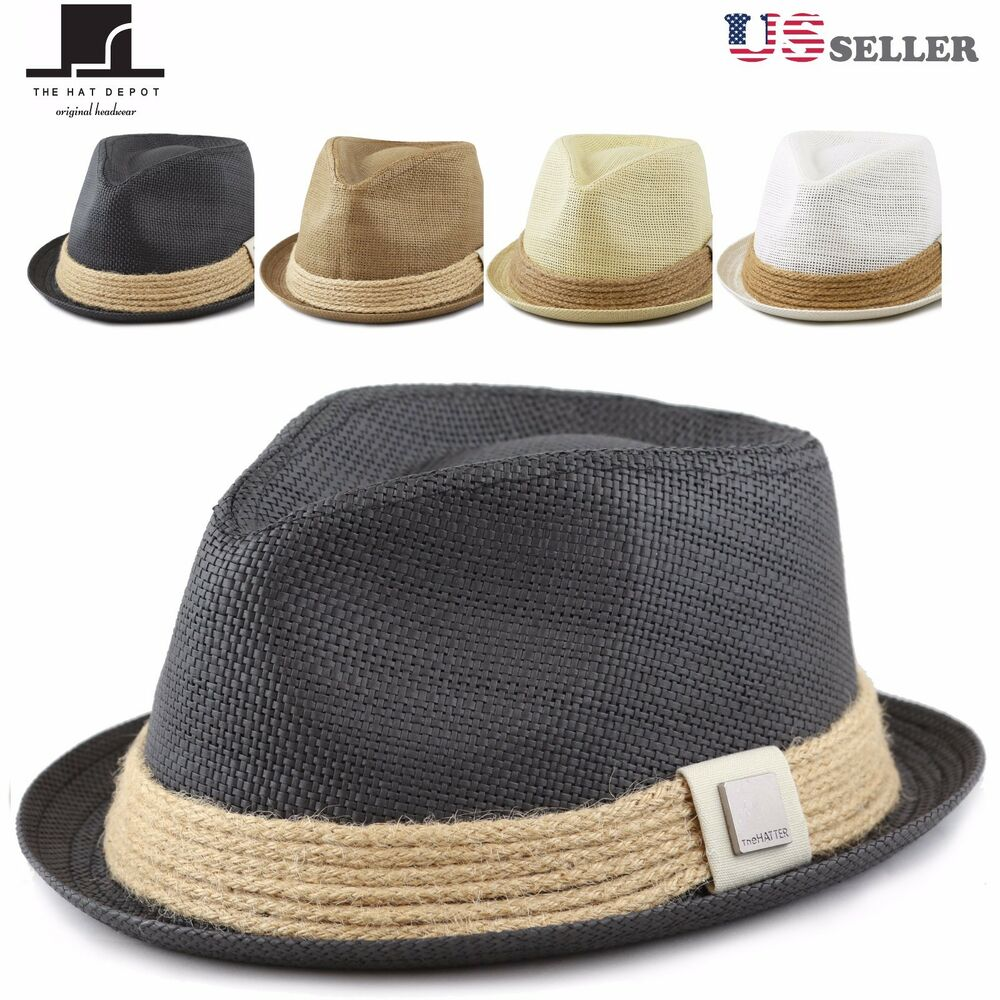 07f83f80ef6be THE HAT DEPOT Womens Short Brim Sun Straw Fedora Hat with Raffia Band