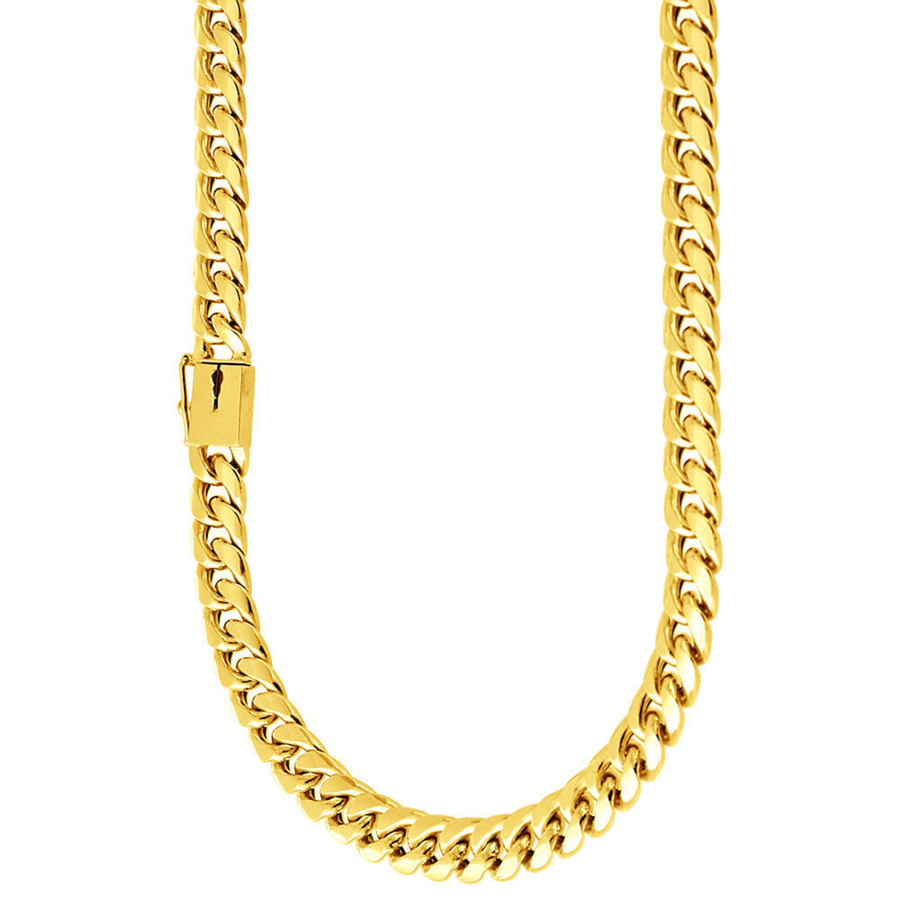 Mens 14k Gold Plated Cuban Link Chain Necklace Box Clasp