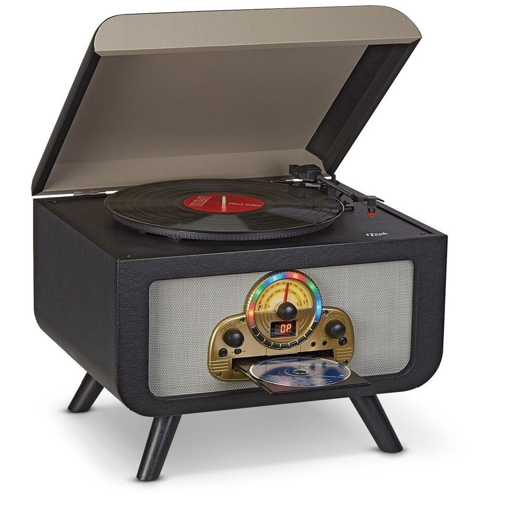 retro stereo turntable cd player bluetooth vinyl record. Black Bedroom Furniture Sets. Home Design Ideas