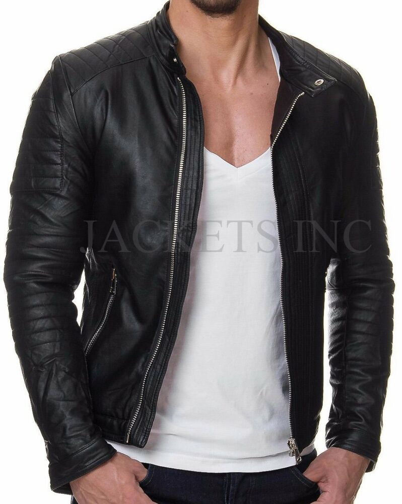 new men genuine lambskin casual leather jacket black slim