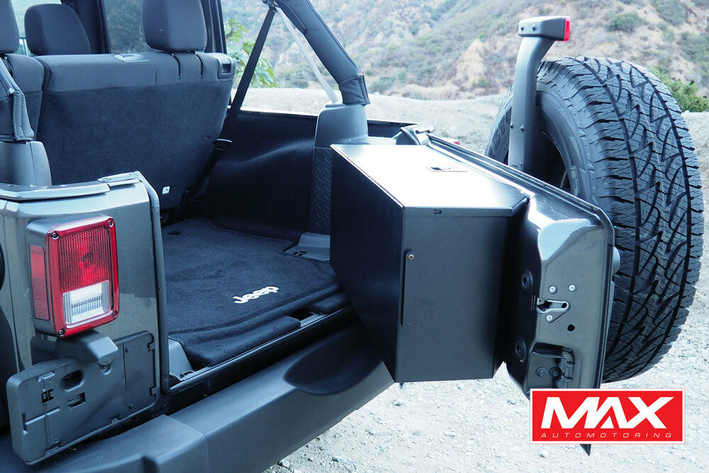 07 17 jeep wrangler aluminum tailgate storage box vault no drill matte black 813146022948 ebay. Black Bedroom Furniture Sets. Home Design Ideas