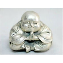 Chinese Old Tibet Silver Small Sitting Laughing Buddha Statue