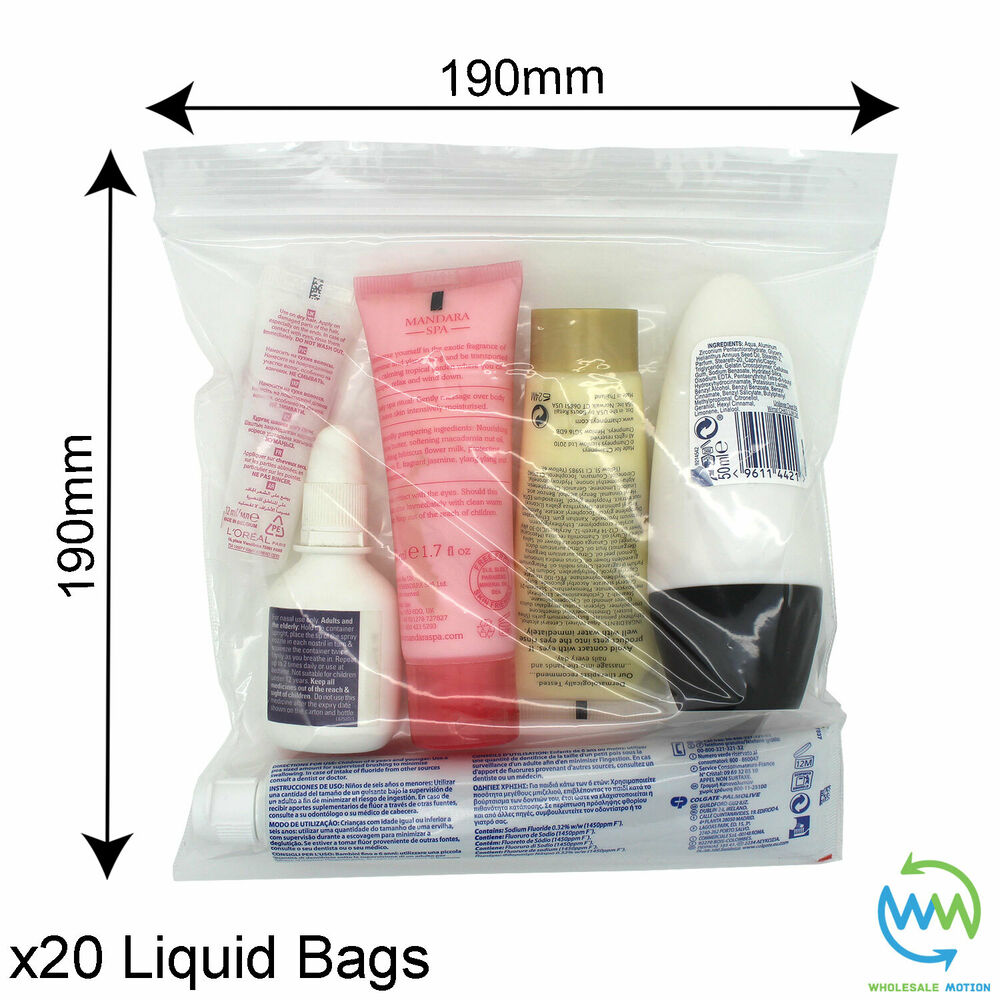 20 X Clear Airport Security Liquid Bags Plastic Seal