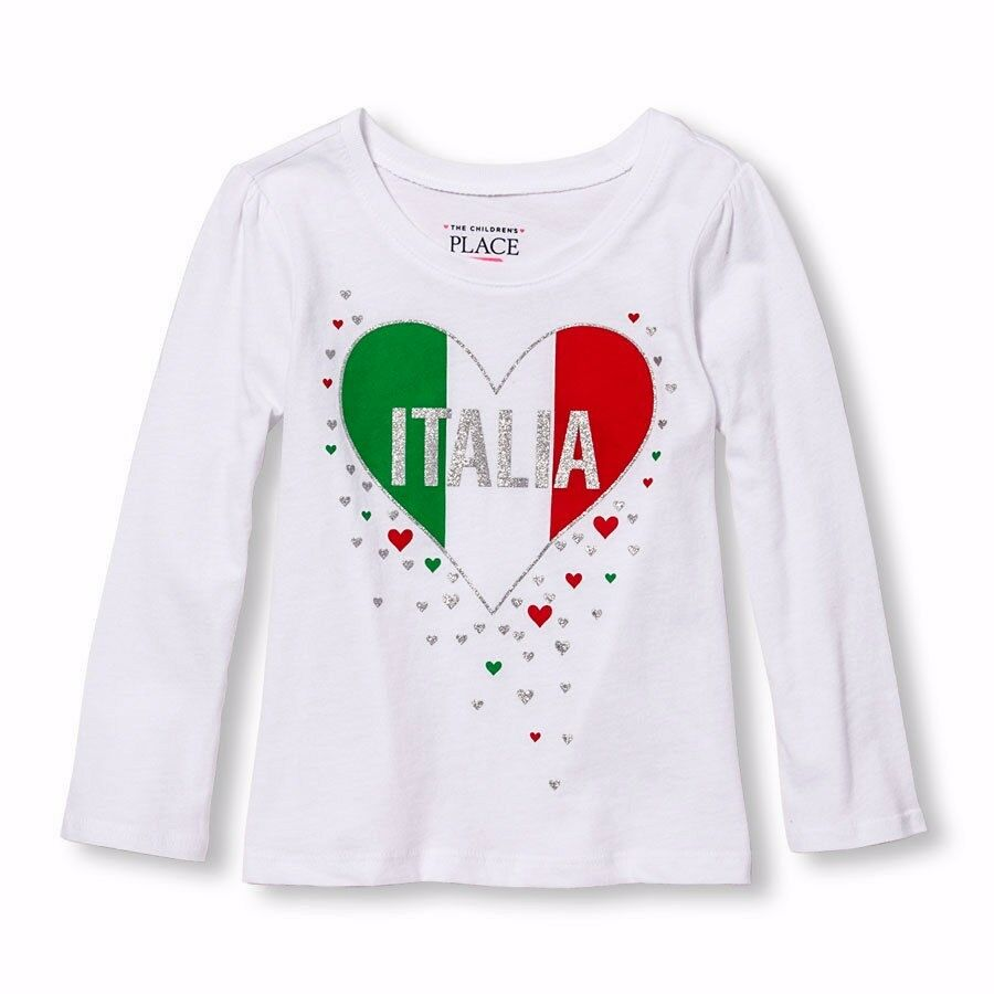 Tcp Baby Toddler Girl Italia Italy Hearts White L S Top T Shirt 2t