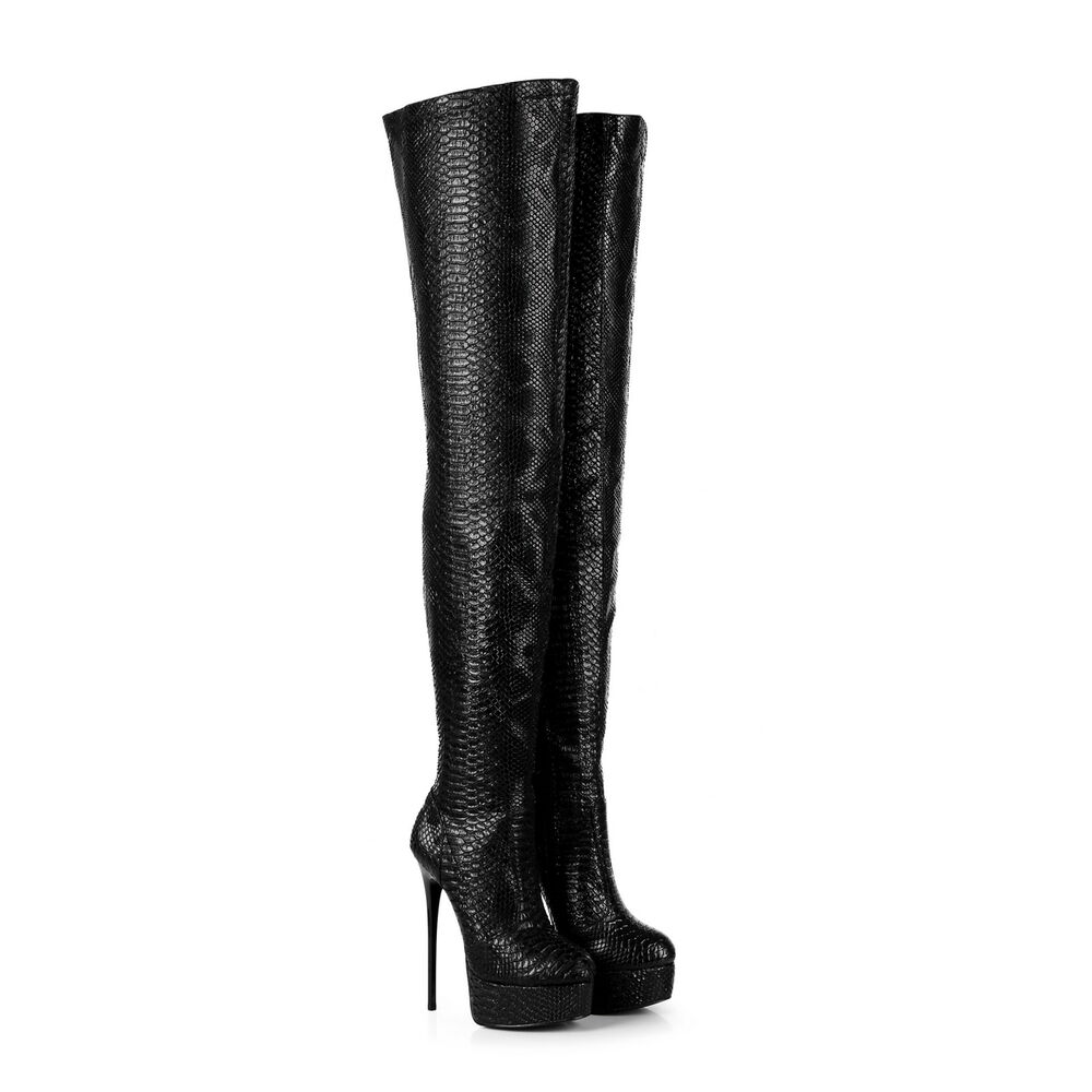4009c24648c2 Details about Giaro GALANA Black Snakeskin Over The Knee Thigh High Boots  !NEW!