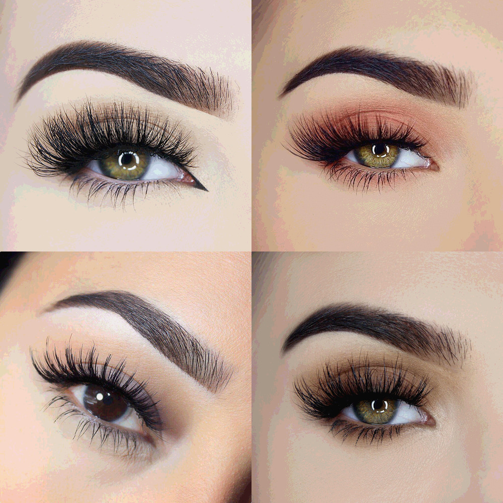 100% Luxury 3D Mink False Lashes Long Strip Party Thick ...