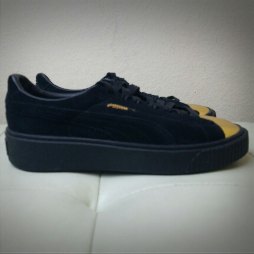 199ca5a21d6 Details about Puma Suede Platform Sneakers Black With Gold Toe Cap  362222-02 Womens Size 8.5