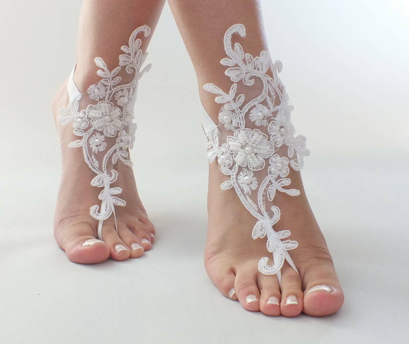 bceab64dae7d Wedding Shoes Lace Pearl White Bridal Anklet Beach Barefoot Sandal Jewelry