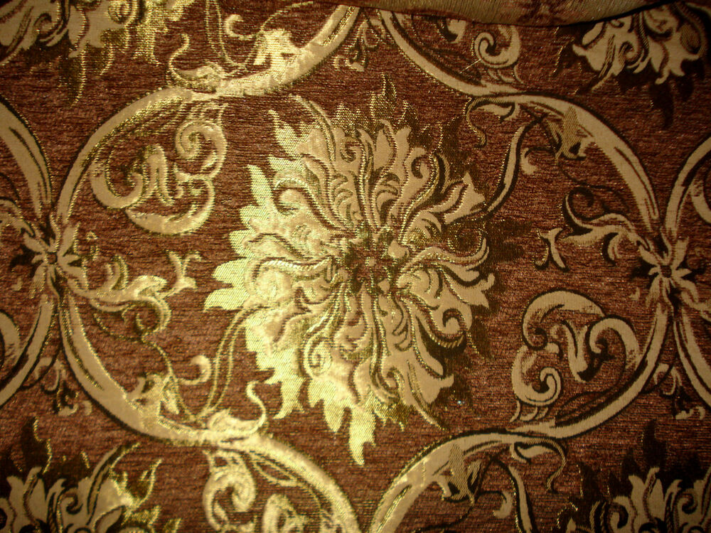 tissu d 39 ameublement baroque antique neuf jaquard chenille webstoff brun ebay. Black Bedroom Furniture Sets. Home Design Ideas