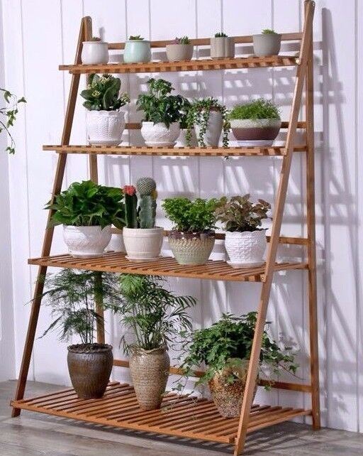 outdoor plant stands bamboo wooden shelf plant stand folding multi tier ladder 11136