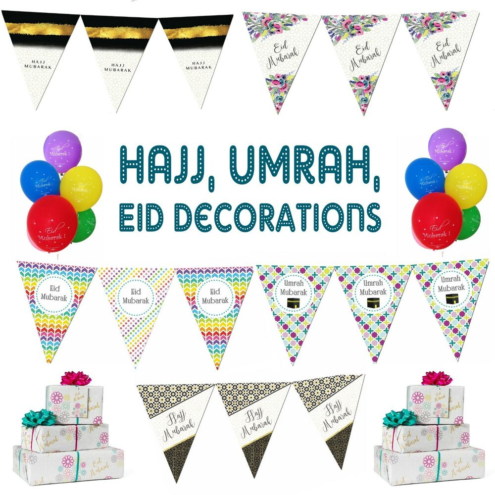 Eid *HAJJ* Umrah Mubarak Party Decorations Banner Balloons