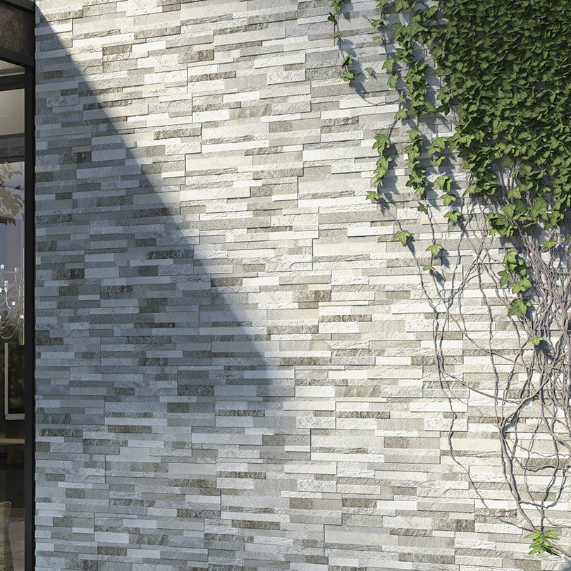 Origin Pebble Stone Effect Linear Travertine Ceramic Wall: Grey Split Face Effect Cladding Mosaic Feature