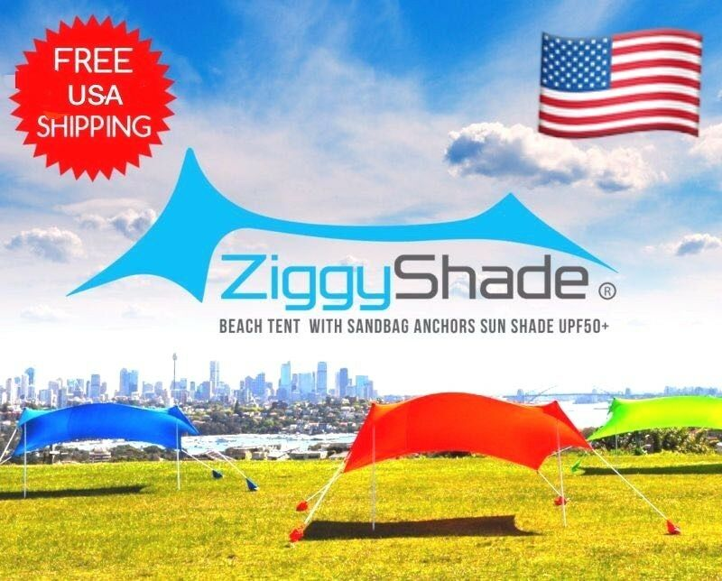 Details about ZiggyShade Beach Shade Tent With Sandbag Anchor Sun Shade UPF50+ Beach Sunshade  sc 1 st  eBay & ZiggyShade Beach Shade Tent With Sandbag Anchor Sun Shade UPF50+ ...