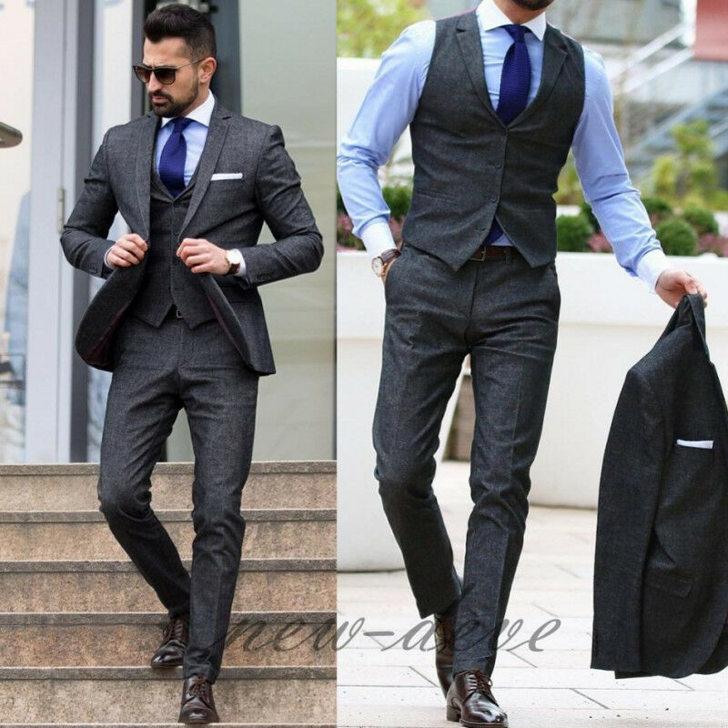 Dark Gray Men\'s Suit 3 Piece Groom Tuxedos Wedding Guest Party/Work ...