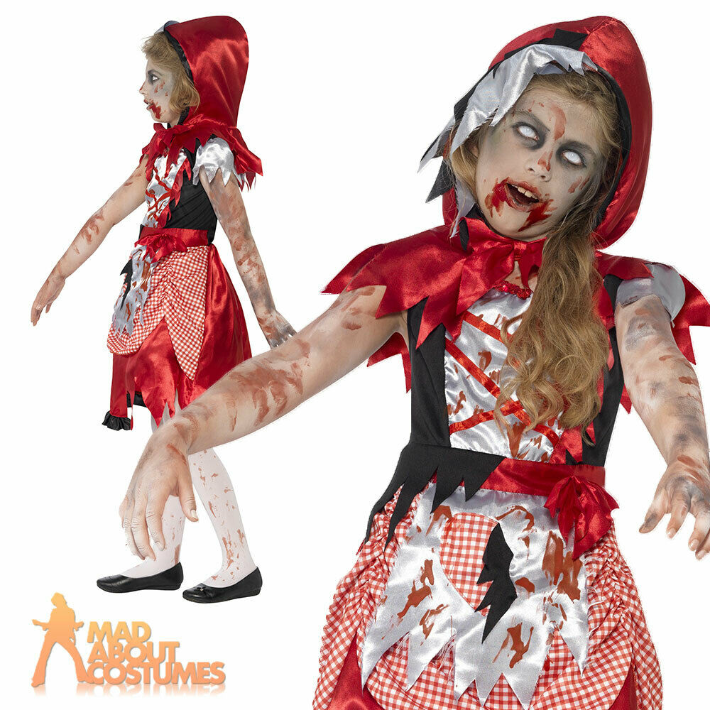 Girls Zombie Little Red Riding Hood Costume Child Halloween Fancy Dress Outfit  Ebay-4102