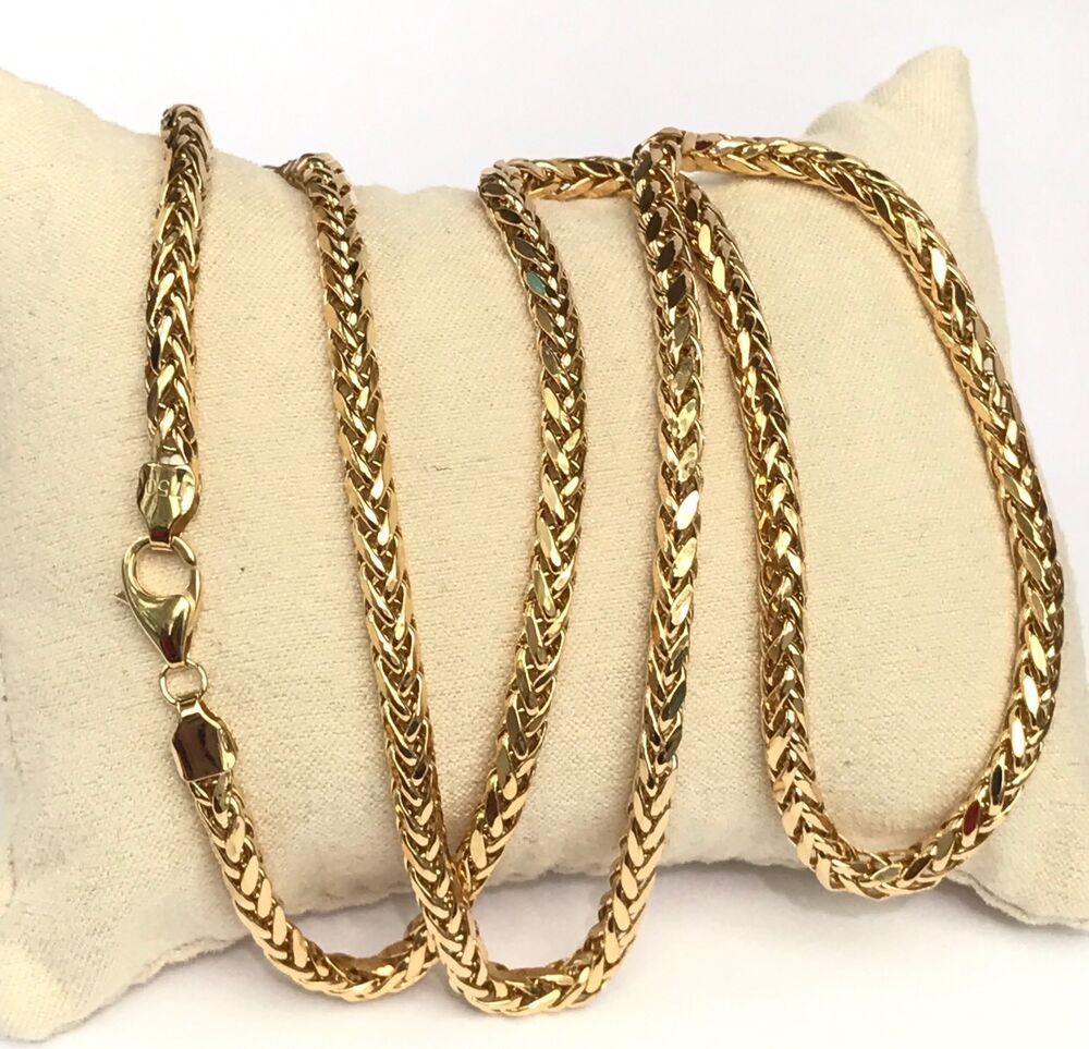 18k solid yellow gold man big wheat chain necklace dimond. Black Bedroom Furniture Sets. Home Design Ideas