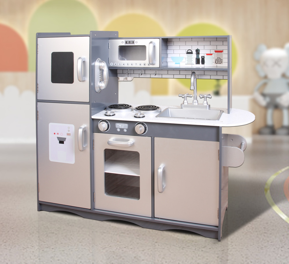 Large Play Kitchen: MCC® Large Kids Grey Wooden Play Kitchen,Children's Play