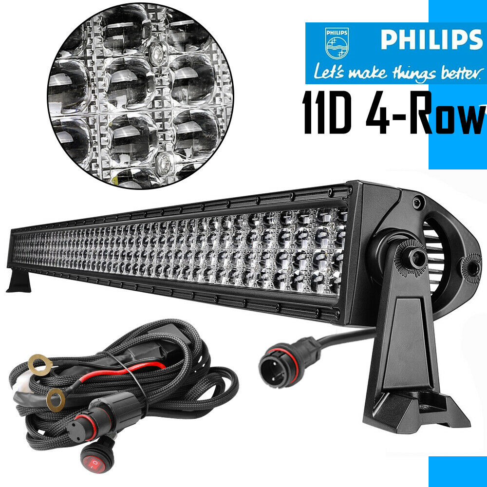54Inch PHILIPS 10D 2080W Quad Row Curved LED Light Bar Driving Combo ...
