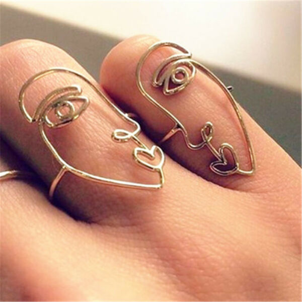 Creative Gold Silver National Wind Ring Exaggerated DIY Alloy Face Personality