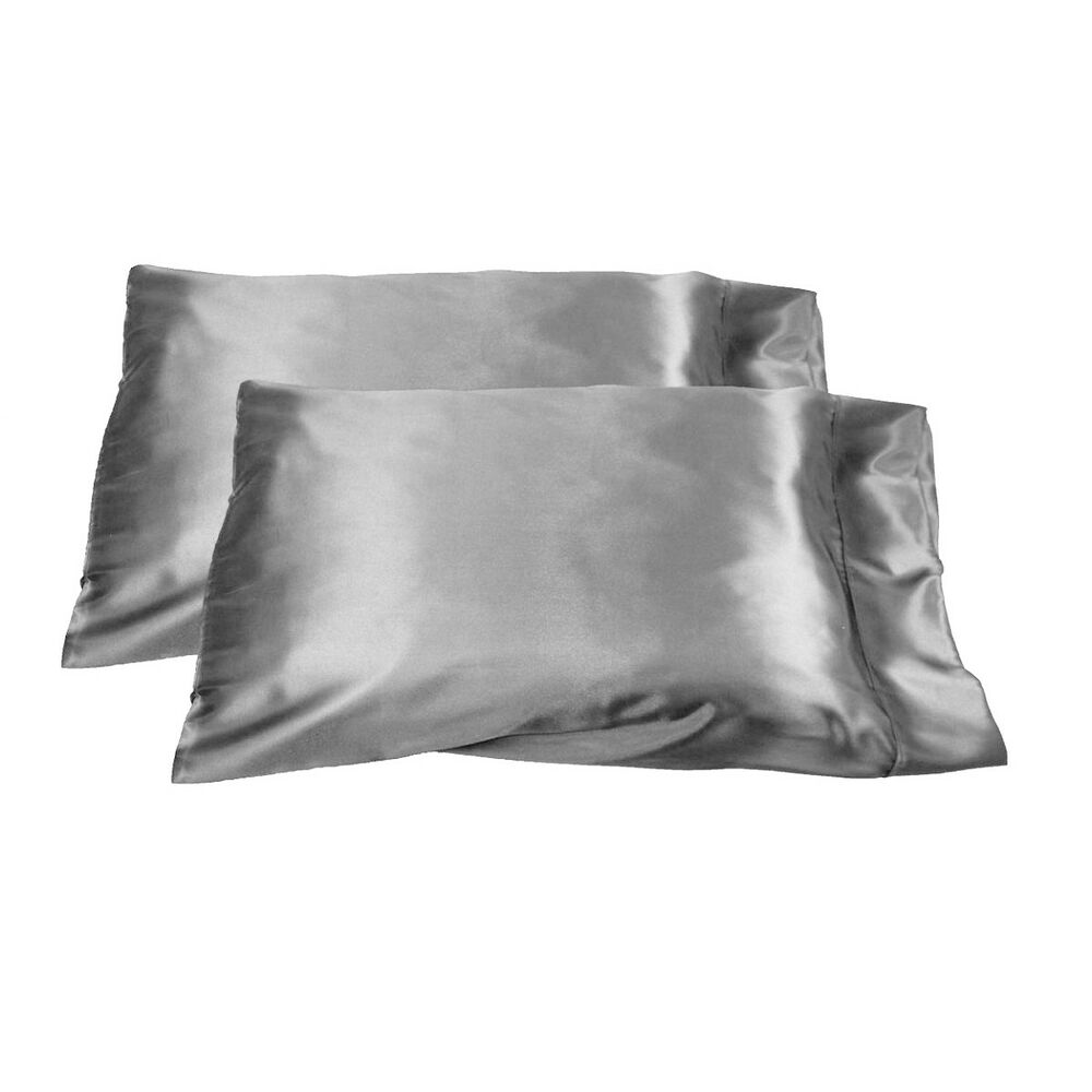 2pc Brand New Queen Standard Size Silk Y Satin Pillow