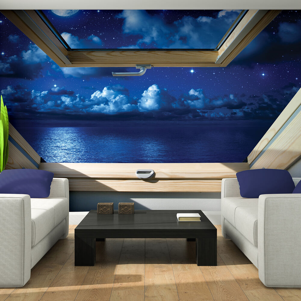 vlies fototapete fototapeten tapeten 3d fenster himmel wasser mond 14n10409ve ebay. Black Bedroom Furniture Sets. Home Design Ideas