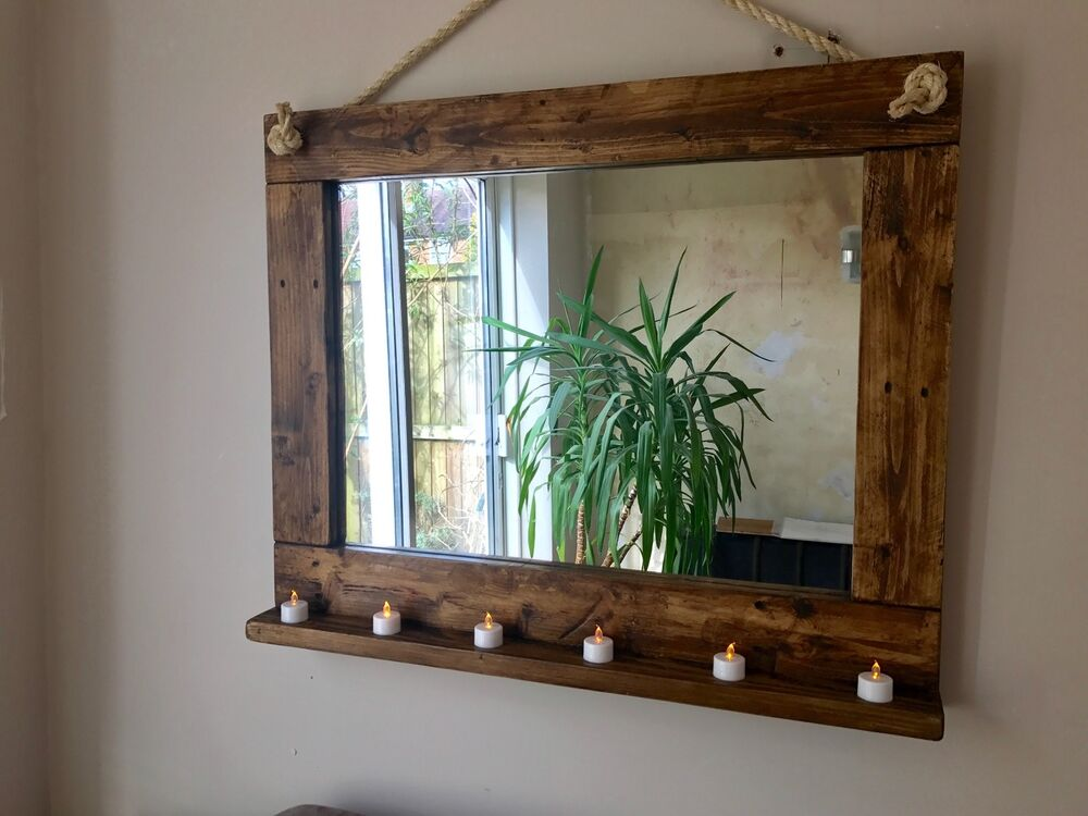 Beautiful rustic farmhouse hand crafted wall mirror with for Rustic mirror