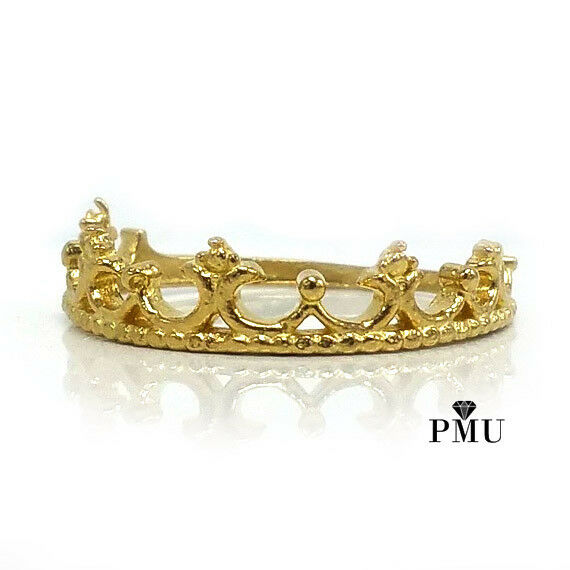 14K Yellow Rose White Gold Crown Tiara Ladies Ring Fine Jewelry