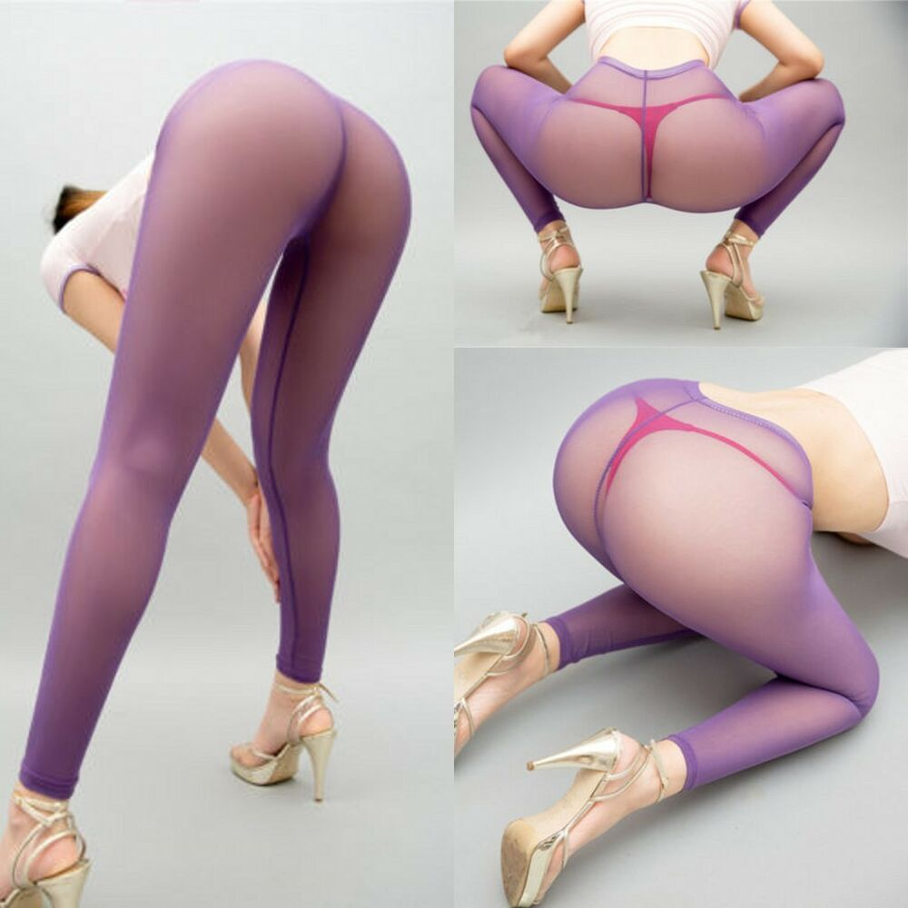 Mesh Transparent Leggings See Through Pencil Pants Erotic -8860