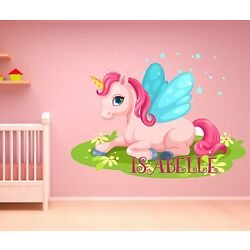 UNICORN PERSONALISED ANY NAME GIRLY Wall Sticker Art Decal MURAL PRINCESS BABY