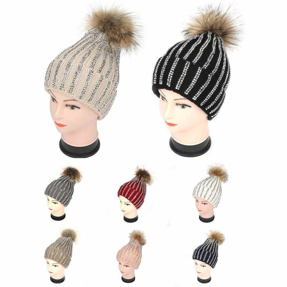 ec3c04418d4 Details about Warm Bling Diamante Knitted Genuine Real Raccoon Fur PomPom  Beanie Bobble Hat