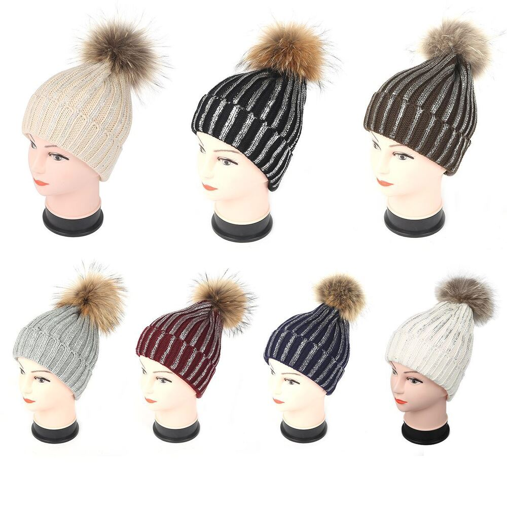 b2783b220c6 Details about Womens Warm Winter Real Fur Pom Pom Knitted Glitter Shinny  Beanie Bobble Hat