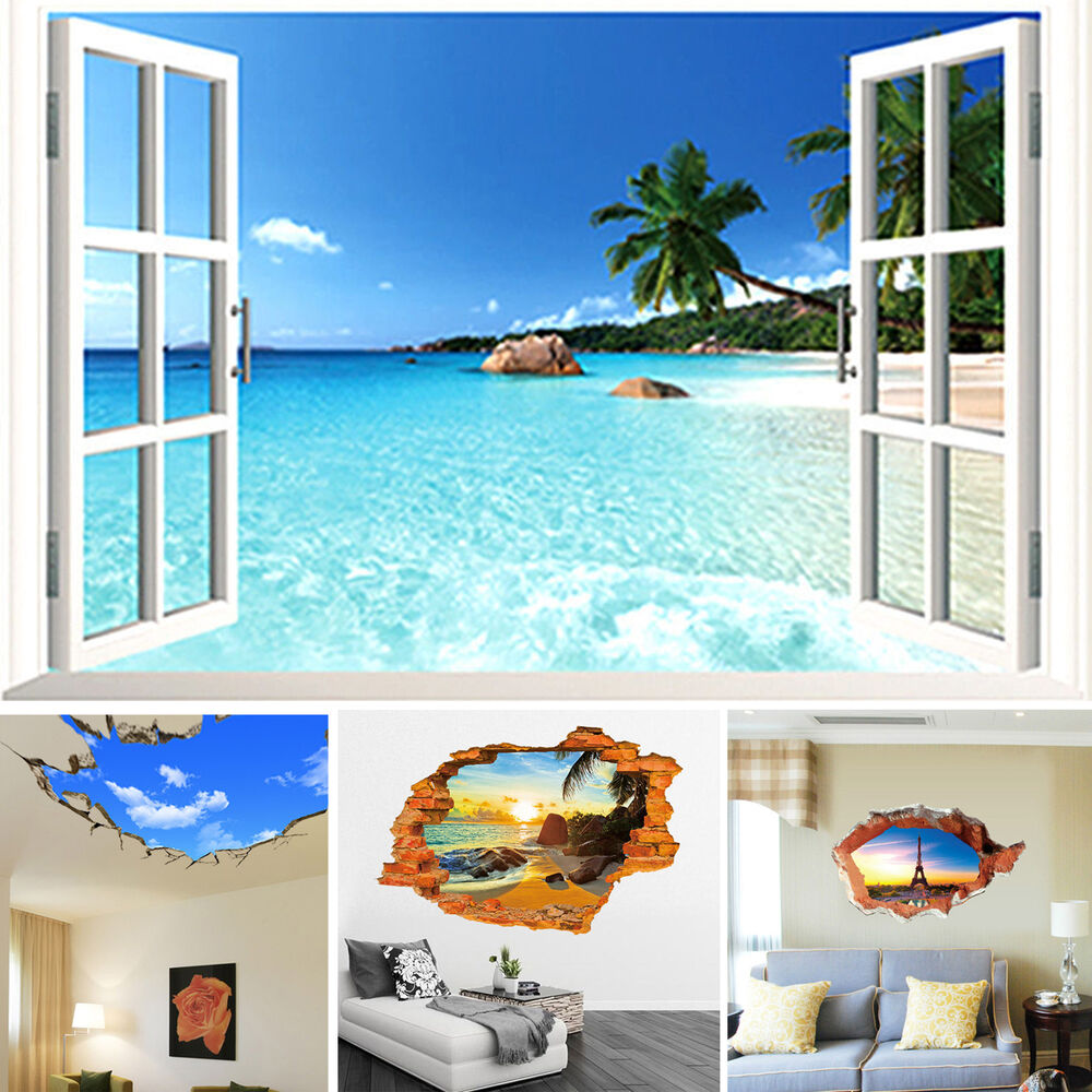 3d strand fensterausblick landschaft wandaufkleber vinyl kunst aufkleber ebay. Black Bedroom Furniture Sets. Home Design Ideas
