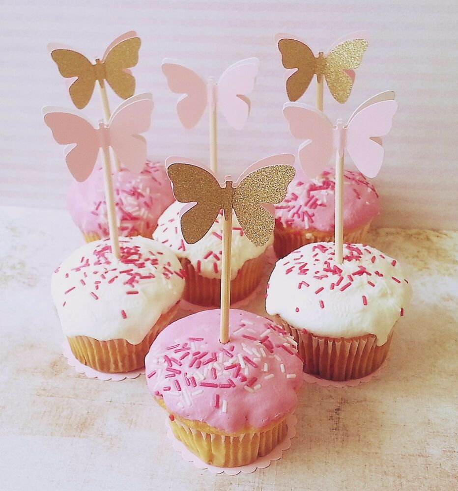 12x Princess Party Pink And Gold Table Decorations Butterfly Cupcake