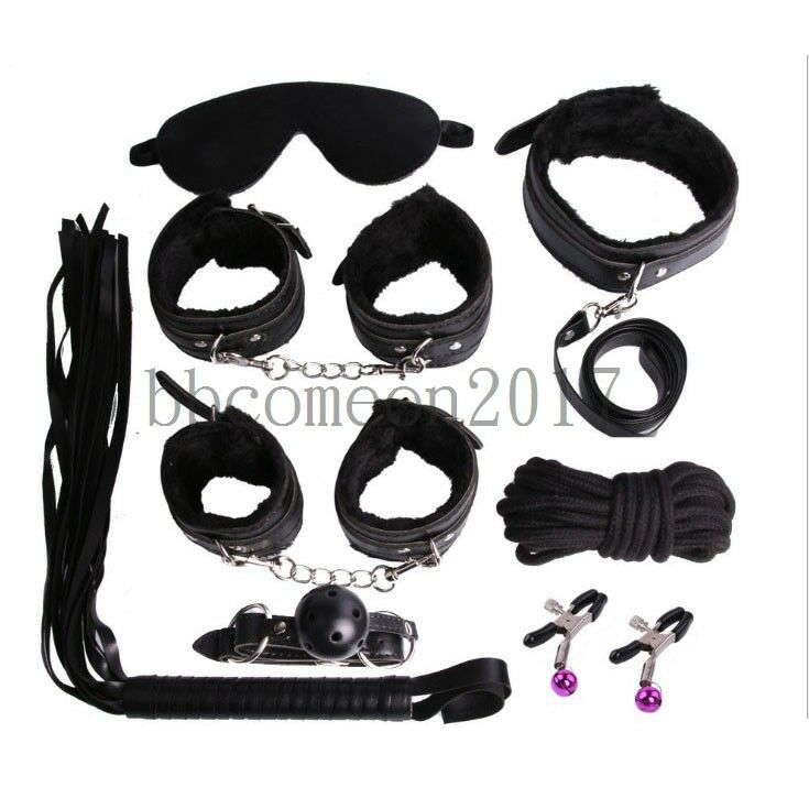 Details about 8pcs Restraint Set Gag Whip Cuffs Rope Blindfold Collar Kinky  Bondage Toy Black