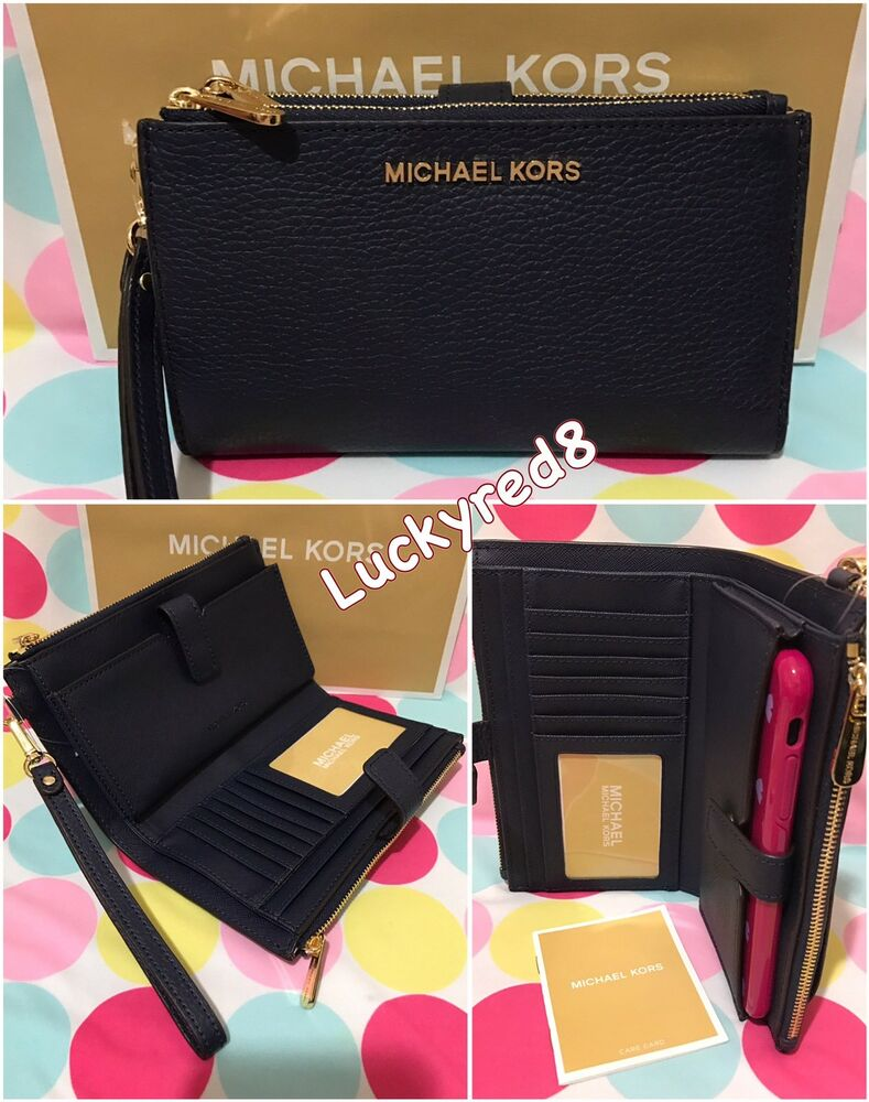 71100793b7a8 Michael Michael Kors Double Zip Wristlet Leather Wallet | Stanford ...