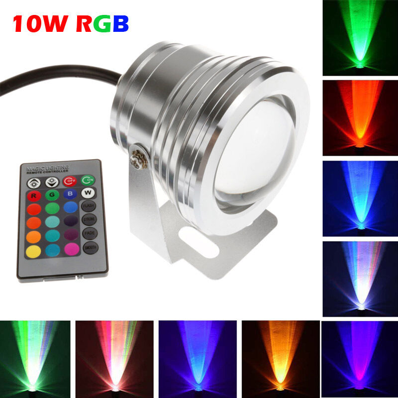 underwater ip68 waterproof 10w rgb led food spot light outdoor garden lamp 12v ebay. Black Bedroom Furniture Sets. Home Design Ideas